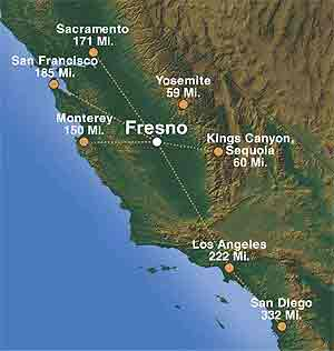 Driving Distance from Fresno, CA to Sacramento, CA