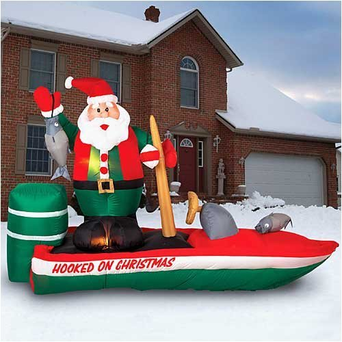 gemmy inflatable christmas lawn decoration santa hooked on christmas bass boat - Christmas Blow Up Decorations Outside
