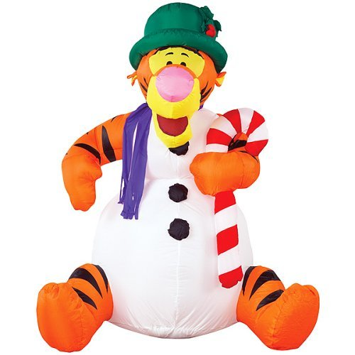 gemmy inflatable christmas lawn decoration tigger snowman with candy cane