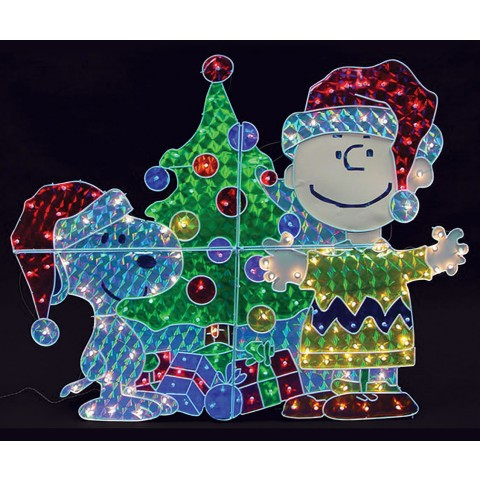 snoopy charlie brown lawn decor 150 bulbs 39inw x 48inh snoopy and charlie brown illuminated christmas holographic display - Holographic Christmas Decorations