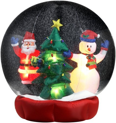 gemmy inflatable christmas snowglobe 6 feet santa snowman tree - Cheap Inflatable Christmas Decorations